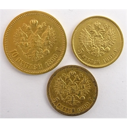 Russia 1899 gold ten rouble coin, 1899 and 1900 gold five rouble coins (3)