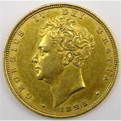 King George IV 1825 gold full sovereign, second bust, shield reverse