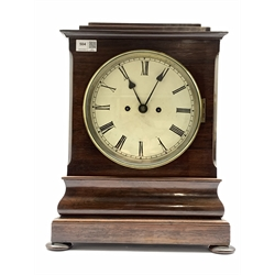 19th century rosewood cased repeating bracket clock, white enamel dial with Roman numeral chapter ring, eight day twin fusee movement striking the hours hammer on bell