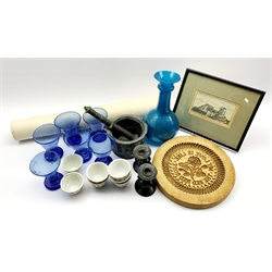Egyptian blue glass water set of jug and six glasses, pottery pestle and mortar, seven tea bowls etc