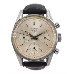 Heuer Carrera gentleman's 1960's, stainless steel 17 jewels manual wind chronograph wristwatch, No. 91982, three subsidiary dials for constant seconds, 30 minute and 12 hour recording, red outer tachymeter scale numbered 50-200, movement signed Heuer-Leonidas SA, on leather strap