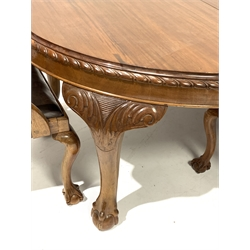 Early 20th century mahogany dining table, oval gadroon carved telescopic extending top with four additional leaves and winder, acanthus carved cabriole supports with ball and claw feet (H76cm, 137cm x 162cm - 360cm, 11' 10'' (extended)), and set eight (2+6) Chippendale design dining chairs, shaped cresting rail over pierced and carved splat, upholstered drop in seat, on ball and claw cabriole supports
