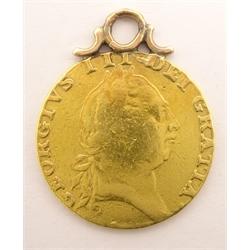 George III 1787 gold spade guinea, on pendant mount