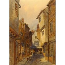 Jessie Dudley (British 1872-1930): 'The Old Shambles, York', watercolour signed 35cm x 25cm