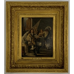 * Follower of Jacob Duck (Dutch 1600-1667): A Guardroom with a Soldier Seated in the Foreground Holding a Pipe, oil on panel 29cm x 23cm. Provenance: The Marquess of Clanricarde. Literature: T Borenius, Catalogue of the pictures at Harewood House, Oxford 1936  Provenance: from the private family collection at Harewood House - <a href='https://www.dugglebystephenson.com/auctions/harewood-house.aspx'>Read more...</a>