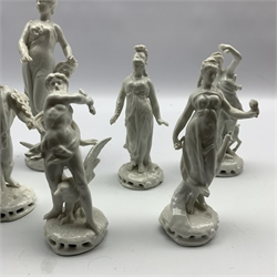 Set of seven Naples Blanc de Chine figures depicting classical gods and goddesses, together with a 19th century Naples figure of the God of Theatre H22cm