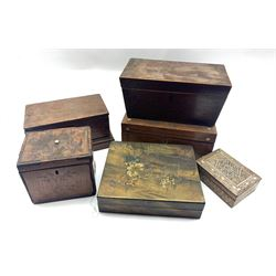 19th century inlaid satinwood tea caddy, another caddy and four other boxes