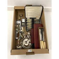 Silver mounted salt, silver bottle top, cased cutlery sets, cutlery, etc in one box
