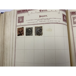 'The Empire Postage Stamp Album' containing Queen Victoria and later Great British and World stamps including, GB QV one penny black with red MX cancel, various perf penny reds, Gibraltar, Heligoland, Malta, Ceylon QV two shillings, Hong Kong, India including QV imperfs, Cape Colony, Mauritius including overprints, New Brunswick, Barbados, France including imperfs etc
