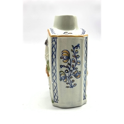 Pratt Ware style tea caddy decorated in relief with Macaroni figures, initialled B to the base, H13cm