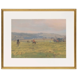 * Charles Walter Simpson (British 1885-1971): 'A Run towards the Punch Bowl, the Bramham Moor' bodycolour, signed, Fine Art Society label verso 37cm x 52cm. This lot may be subject to Artists Resale Rights  Provenance: from the private family collection at Harewood House - <a href='https://www.dugglebystephenson.com/auctions/harewood-house.aspx'>Read more...</a> (mao2506)