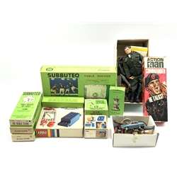 Various Subbuteo items including teams, 'Replica of the F.A. Cup', corner kickers etc, vintage Lego, diecast vehicles including Lesney and Corgi and two Action Man figures with various extra items of clothing and equipment