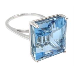 18ct white gold single stone aquamarine ring, aquamarine approx 19.6 carat