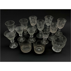 Collection of 19th century drinking glasses including a set of three hobnail banded wine glasses, pair of cut glass tumblers, various wine glasses etched with hops and barley etc