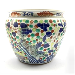 20th century Chinese Doucai porcelain jardinière decorated with fish and shrimp amidst aquatic plants, Yongzheng mark to base H18.5cm x D23cm