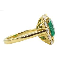 18ct gold emerald and diamond cluster ring, hallmarked, emerald approx 2.80 carat, total diamond weight approx 1.20 carat
