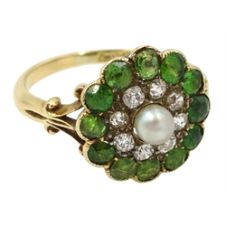 Edwardian gold demantoid garnet, diamond and pearl ring, stamped 18ct, makers mark T & C