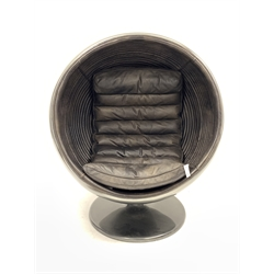 Timothy Oulton - 'Ball Chair' silvered finish swivelling on circular base, leather interior with seat cushion, design after Eero Aarnio's, H124cm, W106cm