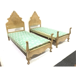Pair of early 20th century Queen Annne style bleached walnut 3' bedsteads, 201cm x 96cm