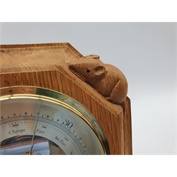 Thompson of Kilburn Mouseman  barometer in octagonal oak case with carved mouse signature W20cm