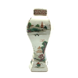 18th century Chinese vase of hexagonal form decorated with landscapes in polychrome enamels, H20cm