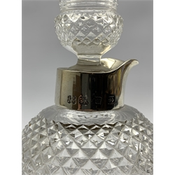 Late Victorian silver mounted glass decanter in the form of a thistle, by John Thomas Heath & John Hartshorne Middleton, Birmingham 1896 H20cm
