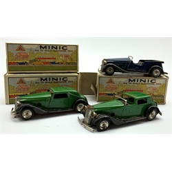 Three Tri-ang Minic clockwork tin-plate cars - Vauxhall Cabriolet, Vauxhall tourer and Vauxhall Town Coupe, all boxed
