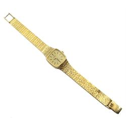 Omega De Ville 9ct gold ladies quartz bracelet wristwatch, hallmarked
