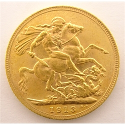 King George V 1913 gold full sovereign