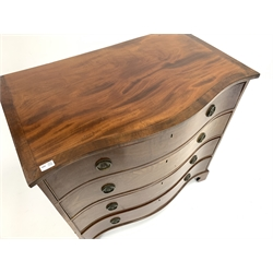 George III mahogany serpentine front chest of four long drawers, with cross banded top and shaped bracket feet, W96cm, H93cm, D60cm
