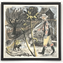 Mark Hearld (Scottish 1974-): Man and a Cat, mixed media on paper signed 32cm x 33cm