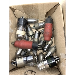 Collection of old glass radio valves including Mazda, Cossor etc