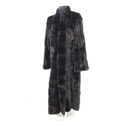 Full length Canadian mink coat, with label reading 'Green Bros for El Corte Made in Canada' full pelts with horizontal mink edging to the front, coat size 14-20