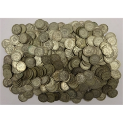 Large quantity of pre 1947 Great British silver coins Half Crowns, Florins (Two Shillings), One Shillings and Sixpence pieces, sorted by denomination, mixed grades throughout, total weight approximately 12640 grams (12.64kg), these pre 1947 silver coins have a silver content of 50%