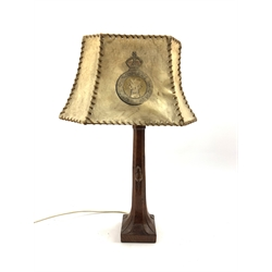 Thompson of Kilburn Mouseman oak table lamp with  square base and carved mouse signature circa 1940s, with a vellum shade inscribed 'Womens Land Army' H35cm excluding fitting and shade