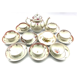 Newhall bullet shape teapot decorated with trailing garlands, seven late 18th century Newhall tea bowls and saucers, various patterns and two other tea bowls with non matching saucers