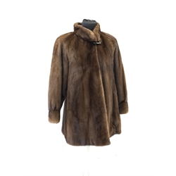 Royal Saga brown mink three quarter jacket, blouson sleeves, stand up collar and brown paisley lining