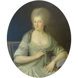Dutch/French School (Late 18th century): Portrait of a member of the Van Loon Family, oval oil on canvas c.1770 unsigned 77cm x 65cm  Provenance: by repute from the collection of the Van Loon Family, numerous seals verso