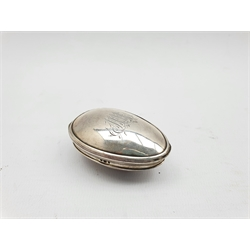 George III silver oval nutmeg grater with internal grille, engraved with a monogram London 1815 Maker Thomas Phipps and Edward Robinson L5.5cm