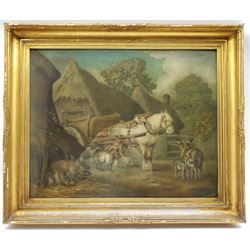 Benjamin Zobel (German/British 1762-1830): Animals in the Farmyard, 'Marmotinto' sand picture signed with initials 47cm x 59cm