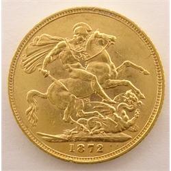 Queen Victoria 1872 gold full sovereign