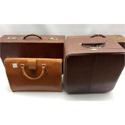 Vintage leather suitcase, two other cases and a brief case
