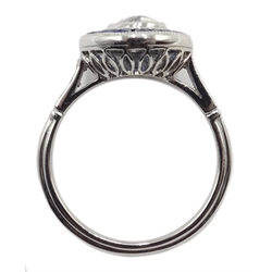 Platinum round old cut diamond and calibre cut sapphire target ring, diamond set shoulders, central diamond approx 0.85 carat