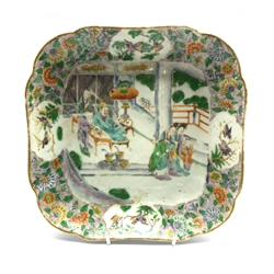 18th century Cantonese famille verte shaped dish enamelled and gilded with courtesans around a dignitary, L24.5cm