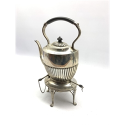 Silver oval spirit kettle with half body reeded decoration and presentation inscription on Adam design stand with spirit heater and on paw feet H36cm Sheffield 1910 Maker Joseph Rodgers approx 46oz