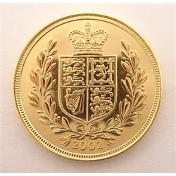 Queen Elizabeth II 2002 gold full sovereign