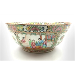 19th century Cantonese porcelain punch bowl, painted in famille rose enamels with panels of figures in gardens and interiors and with birds and insects amongst branches on a foliate ground within foliate panelled borders, D34cm