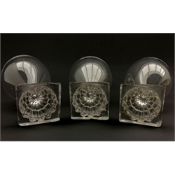 Three 19th century glass rummers with lemon squeezer bases, H15cm