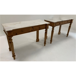 Pair Victorian design pine break front side tables, each with shaped marble top and two frieze drawers, raised on turned front supports, W121cm, H84cm, D50cm