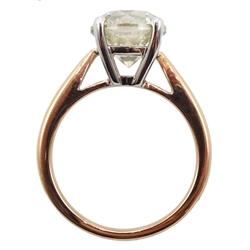 18ct rose gold round brilliant cut diamond ring hallmarked, diamond 3.50 carat